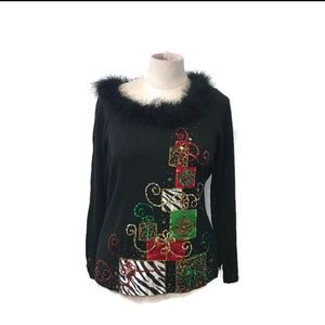 BEREK Christmas Beaded Sweater Large